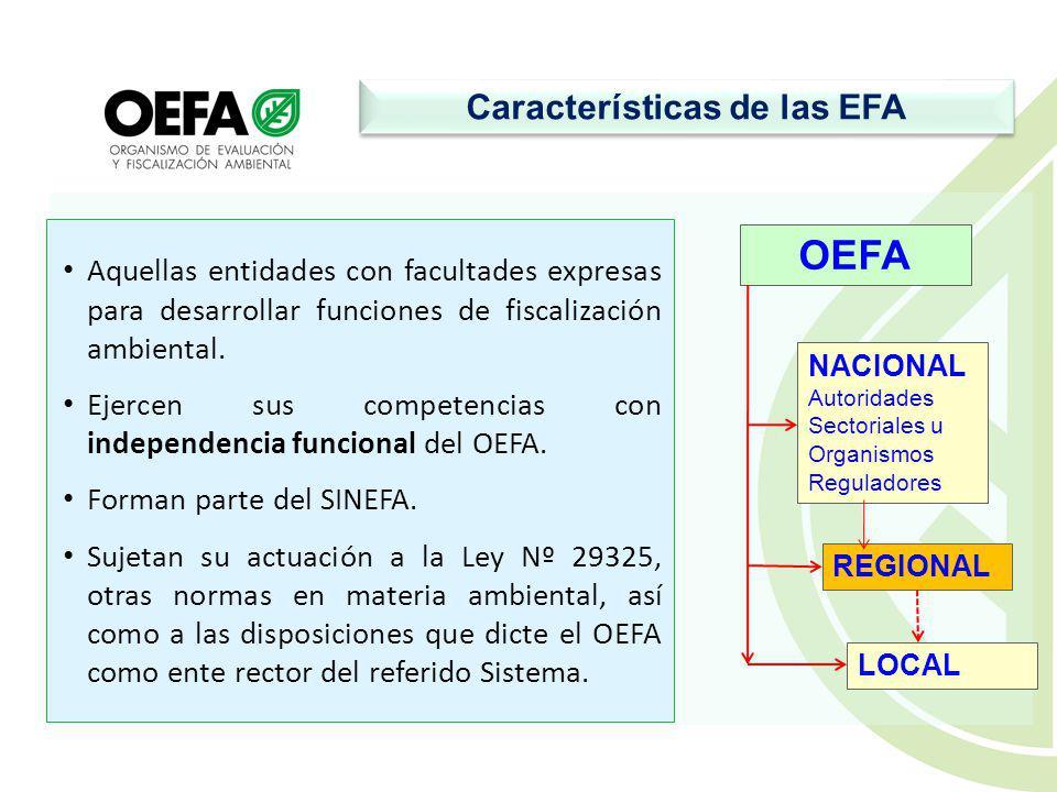 Características de las EFA Aquellas entidades con facultades expresas para desarrollar funciones de fiscalización ambiental.
