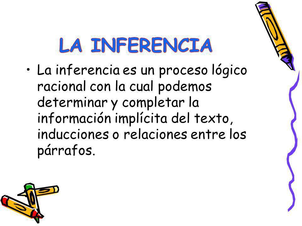 La inferencia es un proceso lógico racional con la cual podemos determinar y completar la información implícita del texto, inducciones o relaciones en