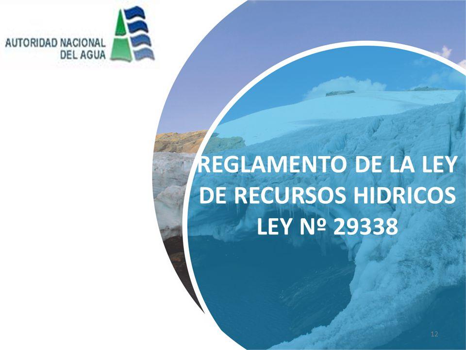 REGLAMENTO DE LA LEY DE RECURSOS HIDRICOS LEY Nº 29338 12