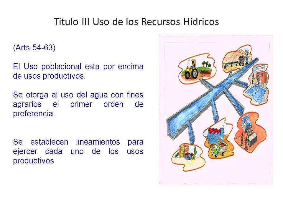Titulo III Uso de los Recursos Hídricos (Arts.54-63) El Uso poblacional esta por encima de usos productivos.