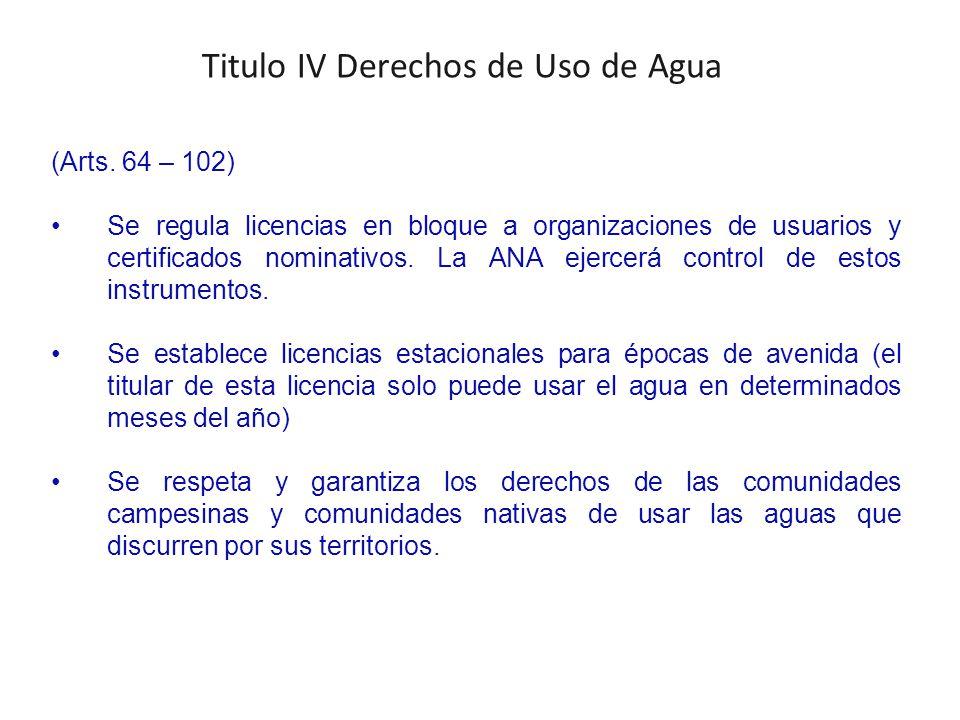 Titulo IV Derechos de Uso de Agua (Arts.
