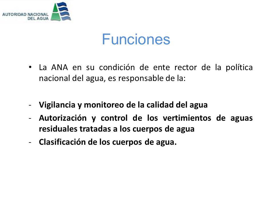 Funciones La ANA debe velar por la protección del agua, que incluye la conservación y protección de sus fuentes, de los ecosistemas y los bienes asociados a ésta.