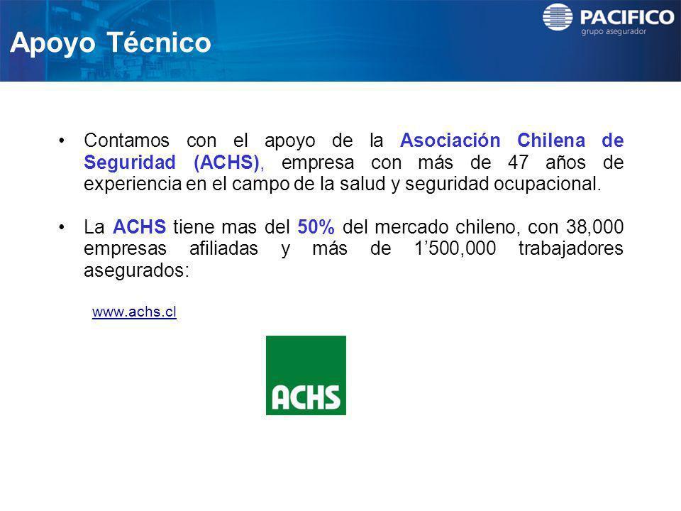 Apoyo Técnico Contamos con el apoyo de la Asociación Chilena de Seguridad (ACHS), empresa con más de 47 años de experiencia en el campo de la salud y