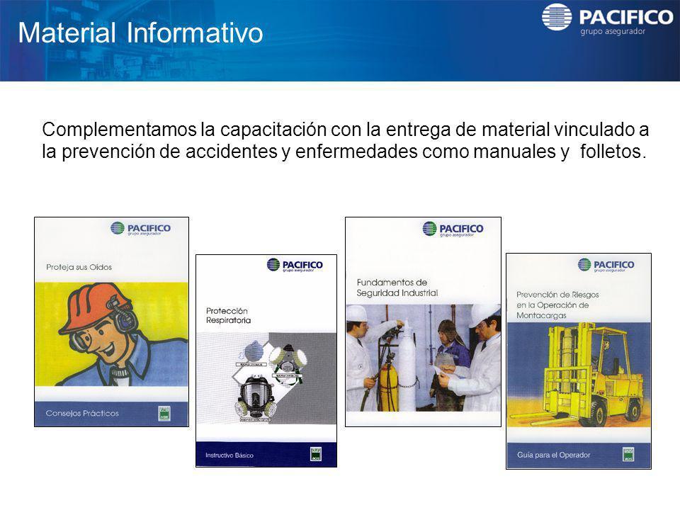 Material Informativo Complementamos la capacitación con la entrega de material vinculado a la prevención de accidentes y enfermedades como manuales y