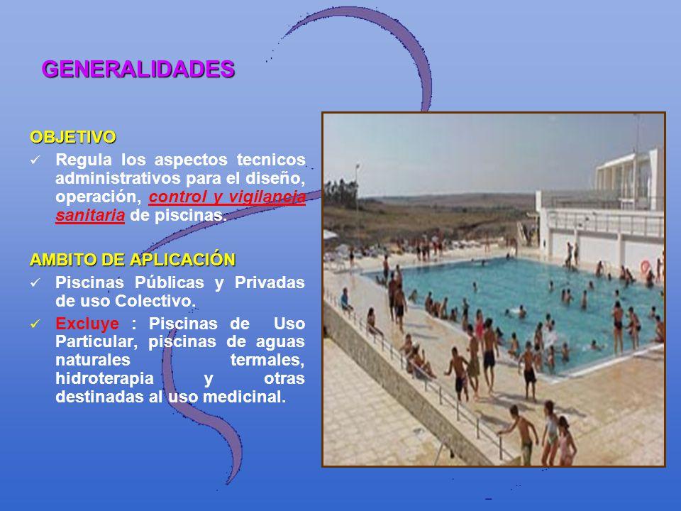 GENERALIDADES OBJETIVO Regula los aspectos tecnicos administrativos para el diseño, operación, control y vigilancia sanitaria de piscinas. AMBITO DE A