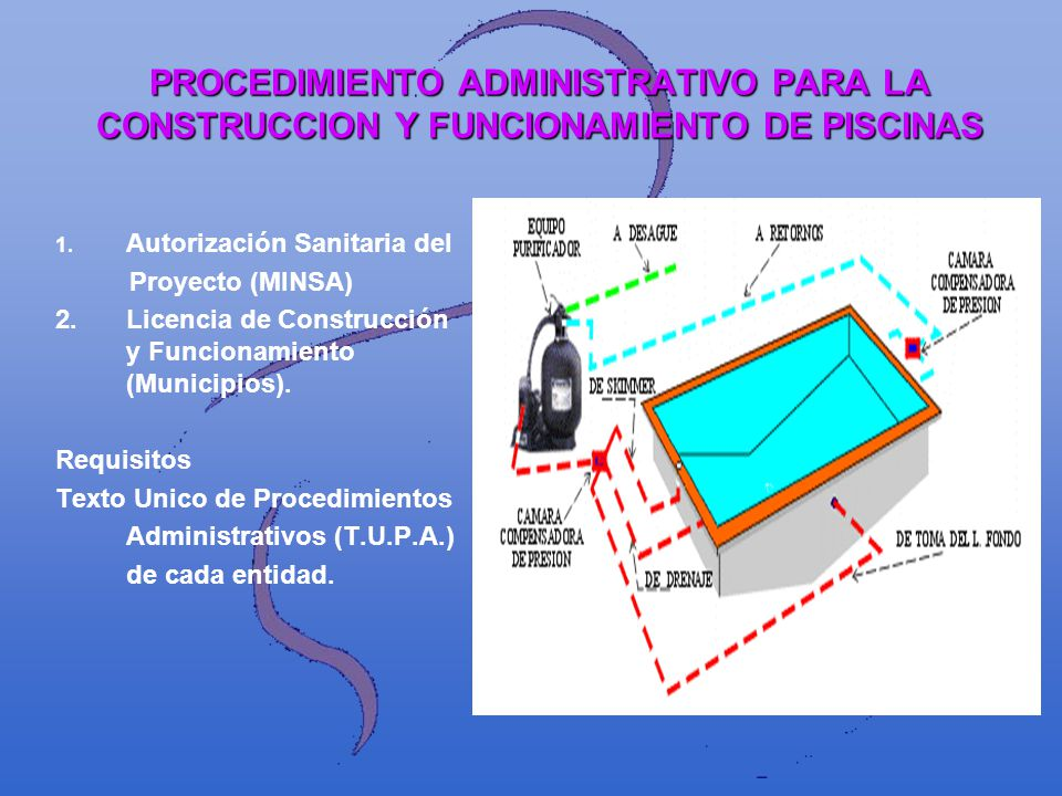 PROCEDIMIENTO ADMINISTRATIVO PARA LA CONSTRUCCION Y FUNCIONAMIENTO DE PISCINAS 1. 1. Autorización Sanitaria del Proyecto (MINSA) 2.Licencia de Constru
