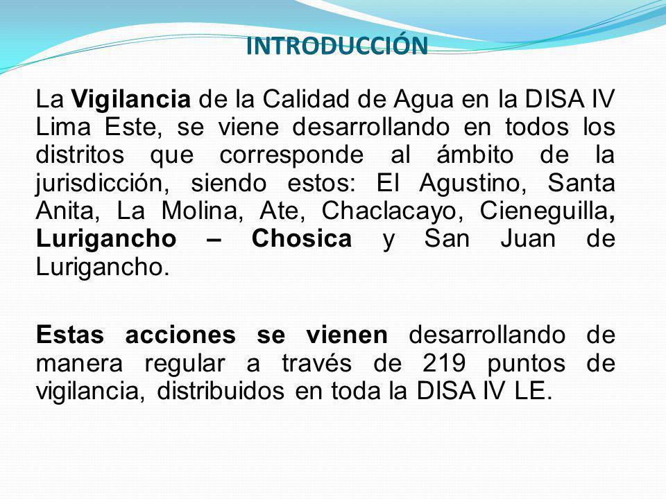 INTRODUCCIÓN La Vigilancia de la Calidad de Agua en la DISA IV Lima Este, se viene desarrollando en todos los distritos que corresponde al ámbito de l