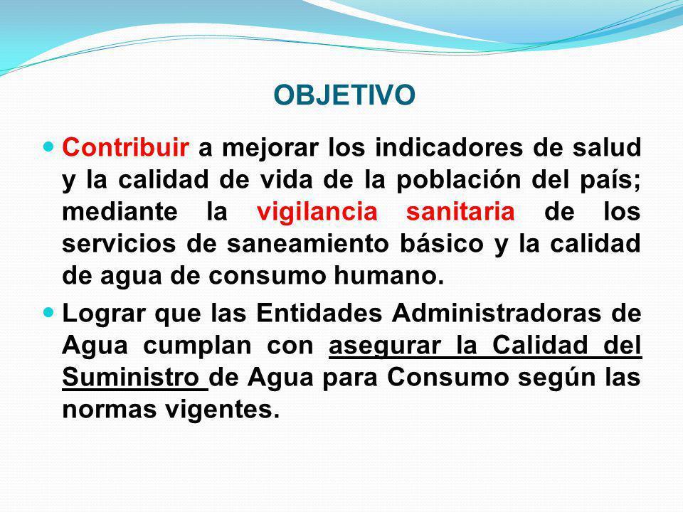 OBJETIVO Contribuir a mejorar los indicadores de salud y la calidad de vida de la población del país; mediante la vigilancia sanitaria de los servicio