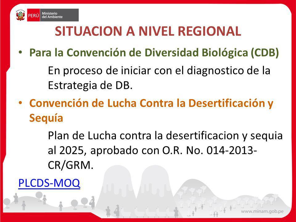 Para la Convención de Diversidad Biológica (CDB) En proceso de iniciar con el diagnostico de la Estrategia de DB. Convención de Lucha Contra la Desert