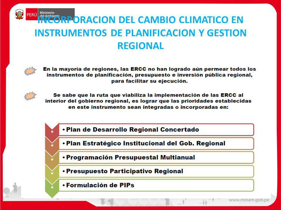 INCORPORACION DEL CAMBIO CLIMATICO EN INSTRUMENTOS DE PLANIFICACION Y GESTION REGIONAL