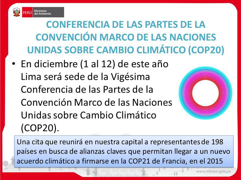 CONFERENCIA DE LAS PARTES DE LA CONVENCIÓN MARCO DE LAS NACIONES UNIDAS SOBRE CAMBIO CLIMÁTICO (COP20) En diciembre (1 al 12) de este año Lima será sede de la Vigésima Conferencia de las Partes de la Convención Marco de las Naciones Unidas sobre Cambio Climático (COP20).