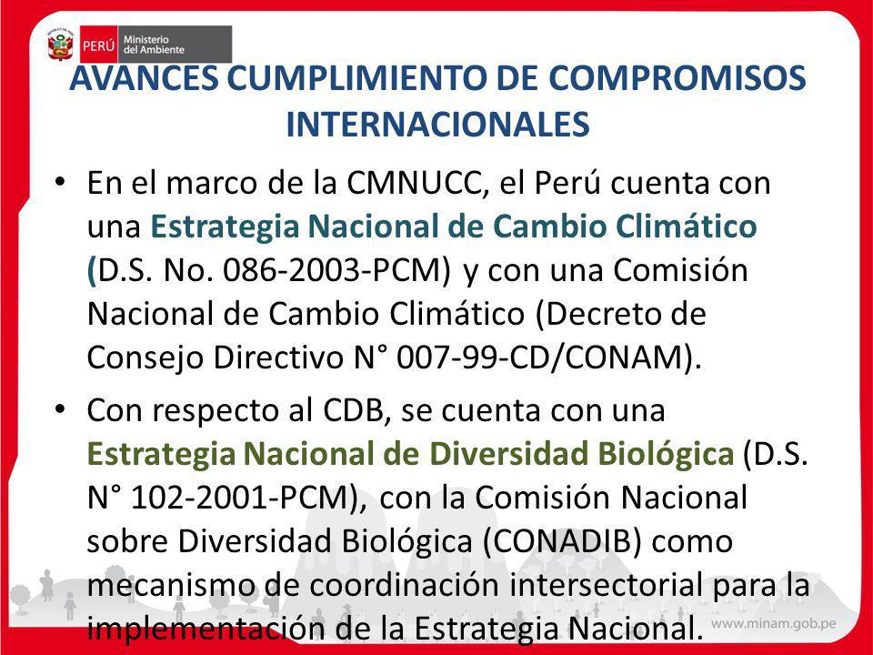 AVANCES CUMPLIMIENTO DE COMPROMISOS INTERNACIONALES En el marco de la CMNUCC, el Perú cuenta con una Estrategia Nacional de Cambio Climático (D.S. No.