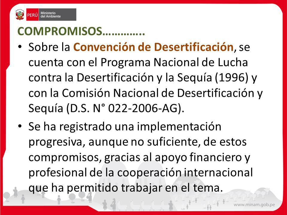 COMPROMISOS………….. Sobre la Convención de Desertificación, se cuenta con el Programa Nacional de Lucha contra la Desertificación y la Sequía (1996) y c
