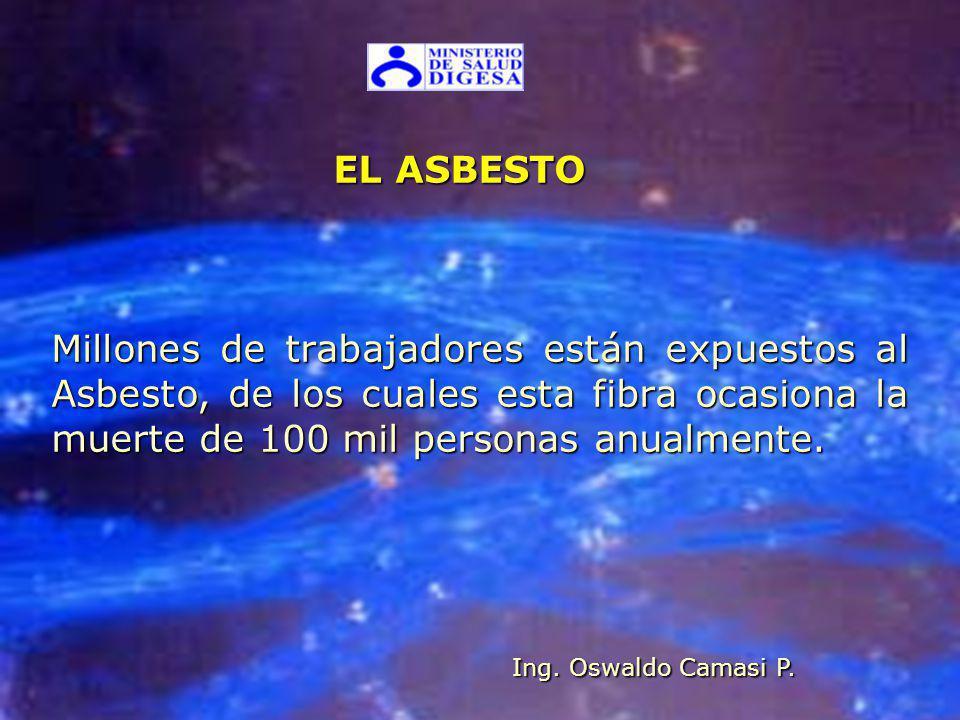 EL ASBESTO EL ASBESTO Millones de trabajadores están expuestos al Asbesto, de los cuales esta fibra ocasiona la muerte de 100 mil personas anualmente.