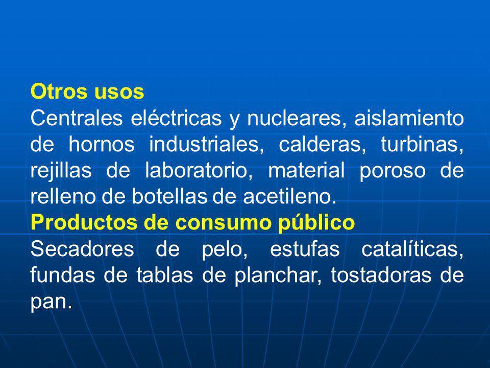 Otros usos Centrales eléctricas y nucleares, aislamiento de hornos industriales, calderas, turbinas, rejillas de laboratorio, material poroso de relle