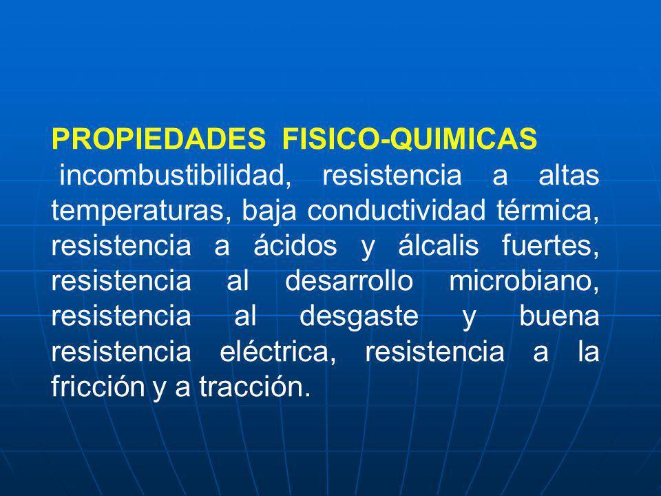 PROPIEDADES FISICO-QUIMICAS incombustibilidad, resistencia a altas temperaturas, baja conductividad térmica, resistencia a ácidos y álcalis fuertes, r