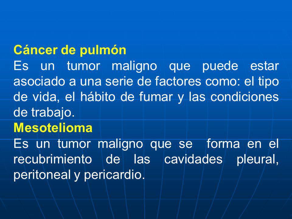 Cáncer de pulmón Es un tumor maligno que puede estar asociado a una serie de factores como: el tipo de vida, el hábito de fumar y las condiciones de t