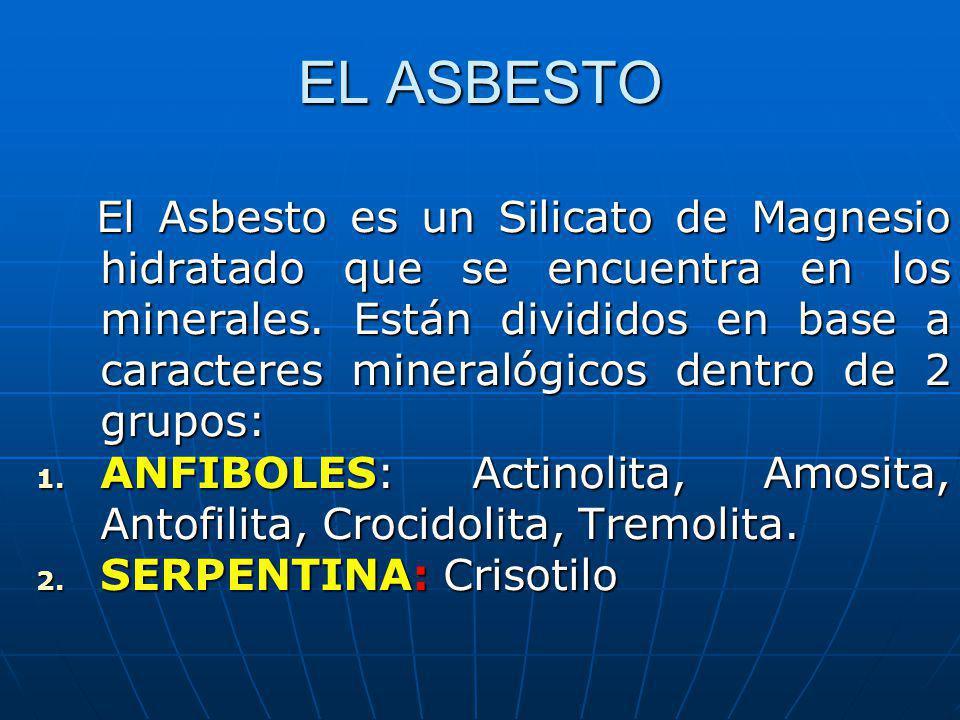 EL ASBESTO El Asbesto es un Silicato de Magnesio hidratado que se encuentra en los minerales. Están divididos en base a caracteres mineralógicos dentr