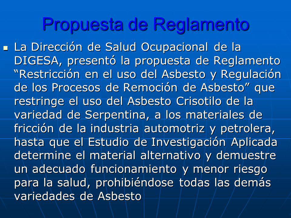 Propuesta de Reglamento La Dirección de Salud Ocupacional de la DIGESA, presentó la propuesta de Reglamento Restricción en el uso del Asbesto y Regula