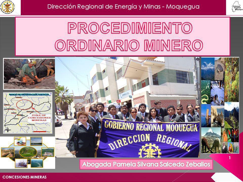 Dirección Regional de Energía y Minas - Moquegua LEY GENERAL DE MINERÍA Acto administrativo por medio de cual el Estado confiere a un particular el derecho de explorar y explotar los recursos minerales dentro de un área determinada por coordenadas Universal Transversal Mercator (UTM).