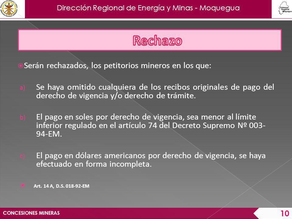 Dirección Regional de Energía y Minas - Moquegua Serán declarados inadmisibles, cuando: No consigna las coordenadas U.T.M.