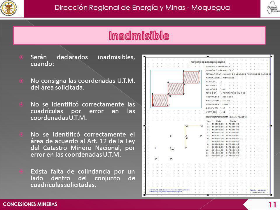 Dirección Regional de Energía y Minas - Moquegua Se exceda el área máxima establecida por la Ley.