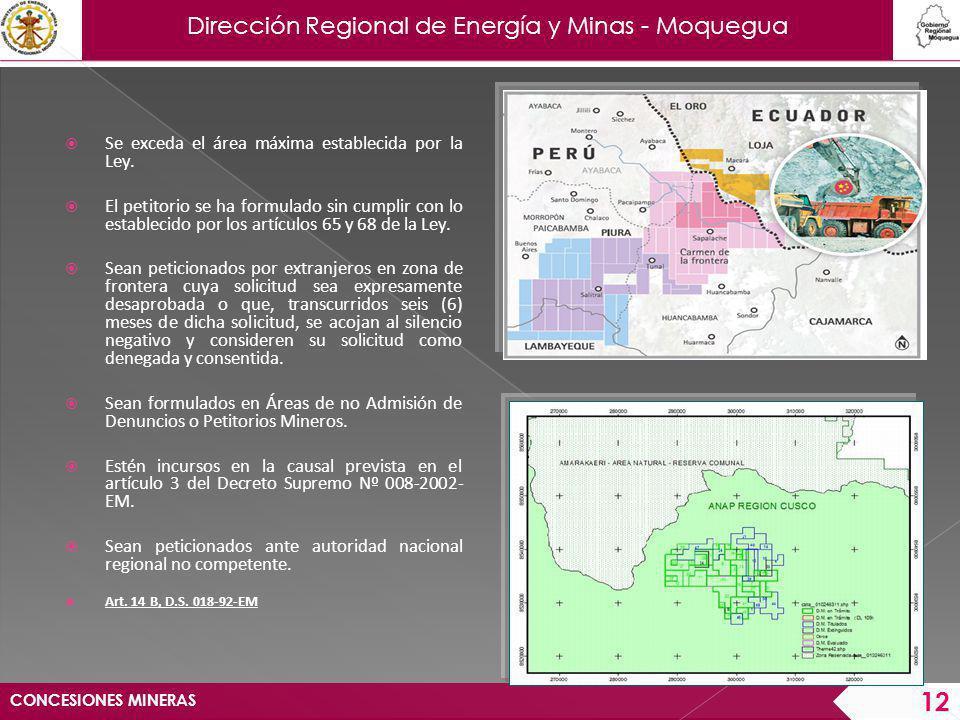 Dirección Regional de Energía y Minas - Moquegua Si durante la tramitación de un petitorio minero se advirtiese que se superpone totalmente sobre otro anterior, será cancelado el pedimento posterior y archivado su expediente.