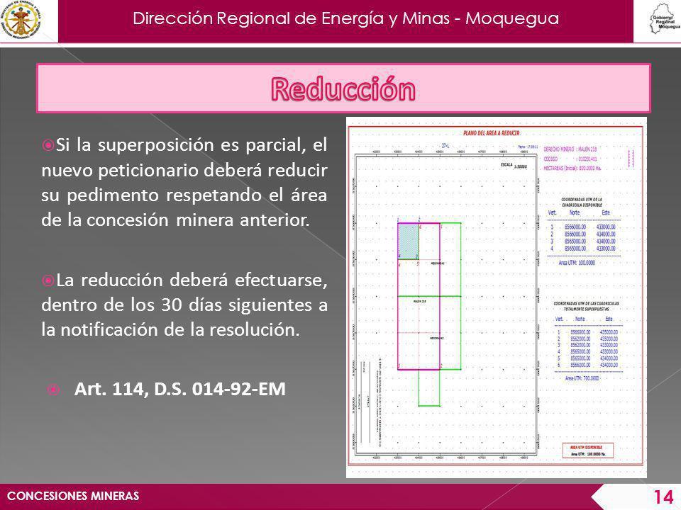 Dirección Regional de Energía y Minas - Moquegua CONCESIONES MINERAS 15 Ejemplo: CUADRICULA TOTALMENTE SUPERPUESTA DERECHO PRIORITARIO DERECHO POSTERIOR DERECHO REDUCIDO