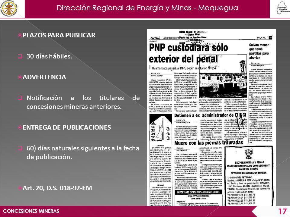 Dirección Regional de Energía y Minas - Moquegua CONCESIONES MINERAS 18 INFORME TECNICO INFORME TECNICO 1.