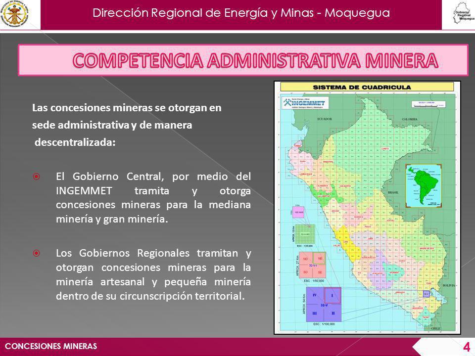 Dirección Regional de Energía y Minas - Moquegua CONCESIONES MINERAS 5 Datos del Petitorio: Nombre Sustancia Demarcación Carta Nacional Zona Geográfica Escala Coordenadas UTM referidos al Datum PSAD56