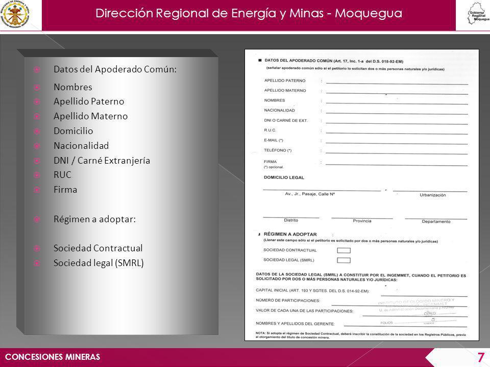 Dirección Regional de Energía y Minas - Moquegua CONCESIONES MINERAS 8 Pago equivalente al 10% de una Unidad Impositiva Tributaria.