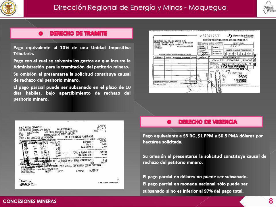 Dirección Regional de Energía y Minas - Moquegua CONCESIONES MINERAS 9