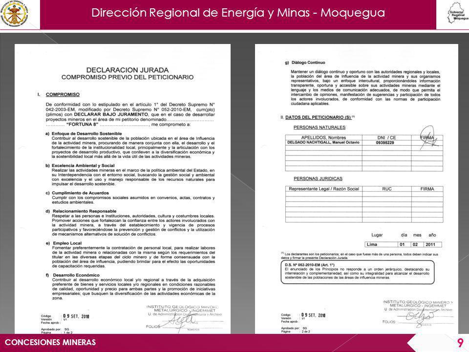 Dirección Regional de Energía y Minas - Moquegua Serán rechazados, los petitorios mineros en los que: a) Se haya omitido cualquiera de los recibos originales de pago del derecho de vigencia y/o derecho de trámite.