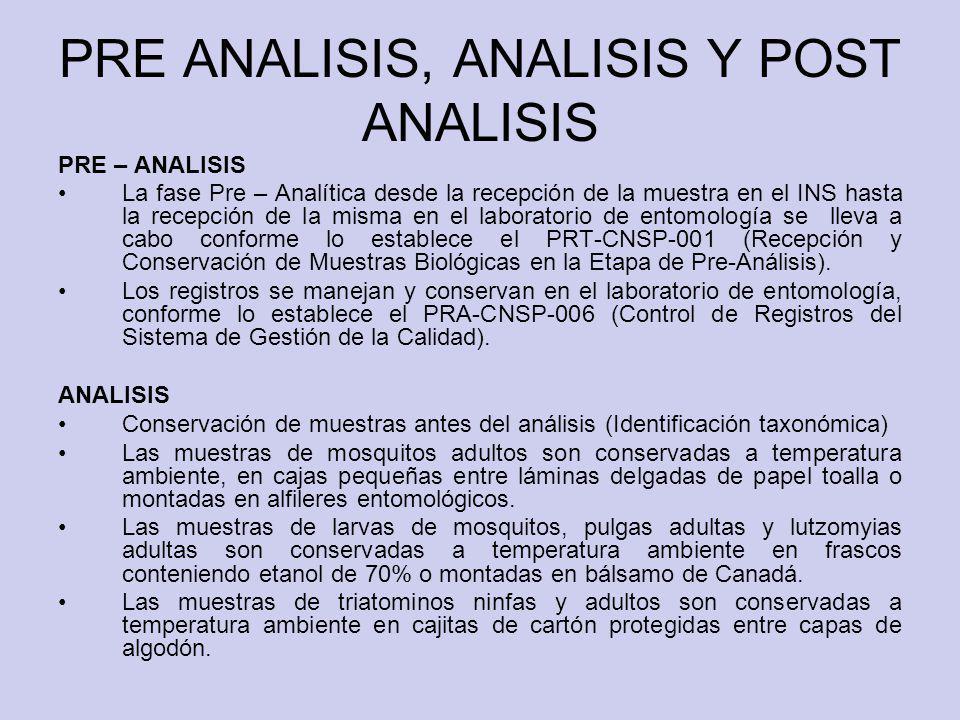 PRE ANALISIS, ANALISIS Y POST ANALISIS PRE – ANALISIS La fase Pre – Analítica desde la recepción de la muestra en el INS hasta la recepción de la mism