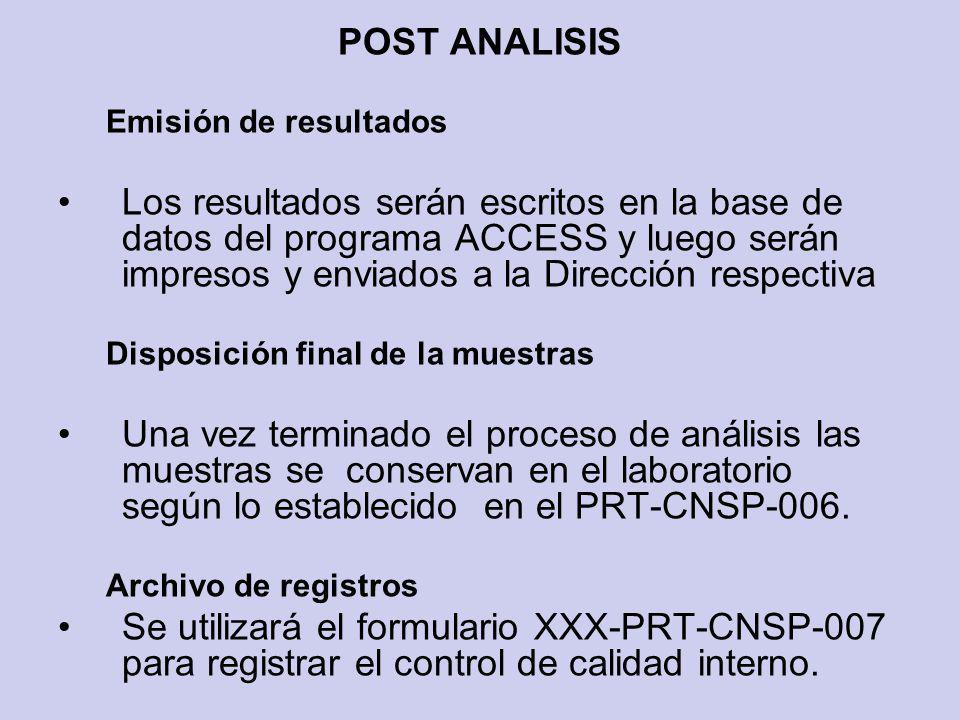 POST ANALISIS Emisión de resultados Los resultados serán escritos en la base de datos del programa ACCESS y luego serán impresos y enviados a la Direc