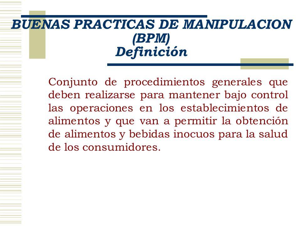 BUENAS PRACTICAS DE MANIPULACION (BPM) Definición Conjunto de procedimientos generales que deben realizarse para mantener bajo control las operaciones en los establecimientos de alimentos y que van a permitir la obtención de alimentos y bebidas inocuos para la salud de los consumidores.