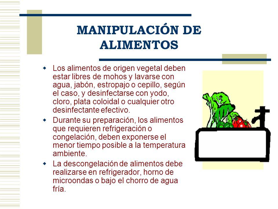 Los alimentos de origen vegetal deben estar libres de mohos y lavarse con agua, jabón, estropajo o cepillo, según el caso, y desinfectarse con yodo, c