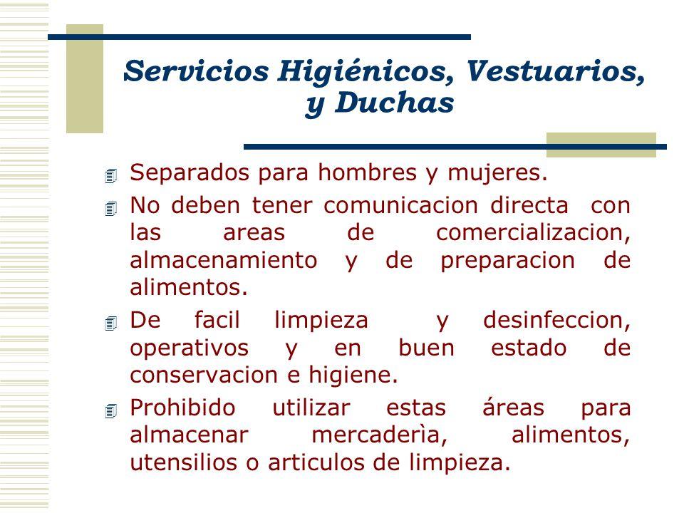 Servicios Higiénicos, Vestuarios, y Duchas 4 Separados para hombres y mujeres. 4 No deben tener comunicacion directa con las areas de comercializacion
