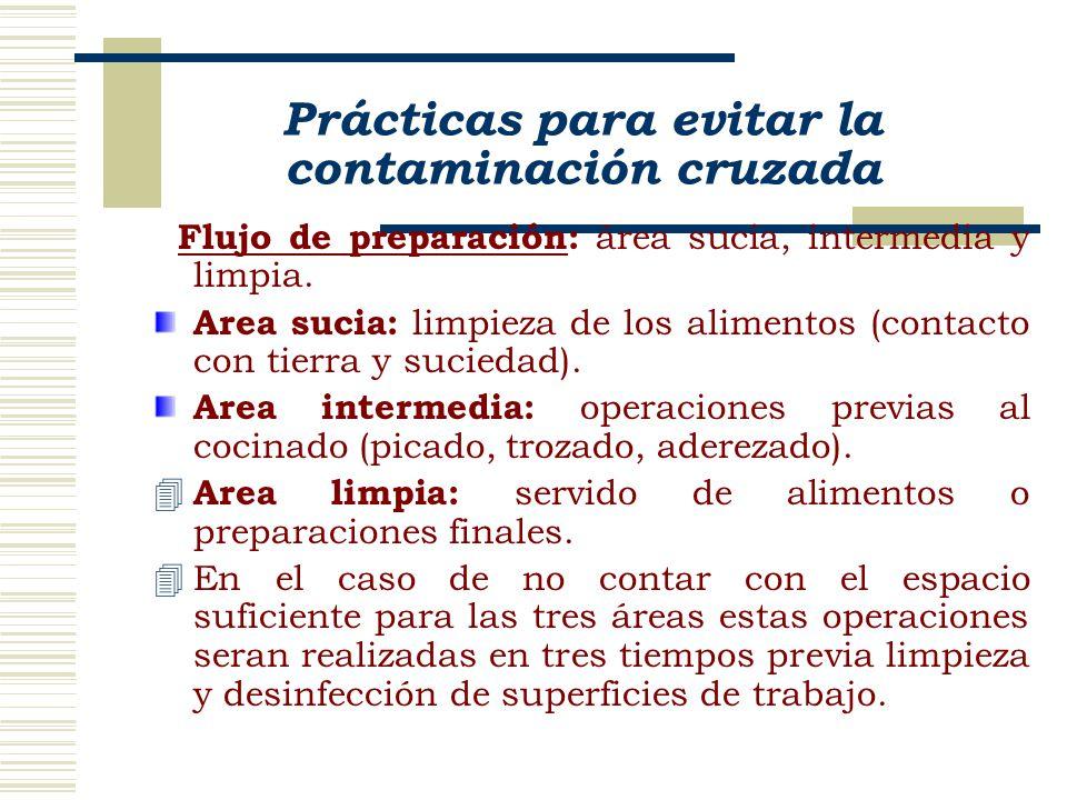 Prácticas para evitar la contaminación cruzada Flujo de preparación: área sucia, intermedia y limpia. Area sucia: limpieza de los alimentos (contacto