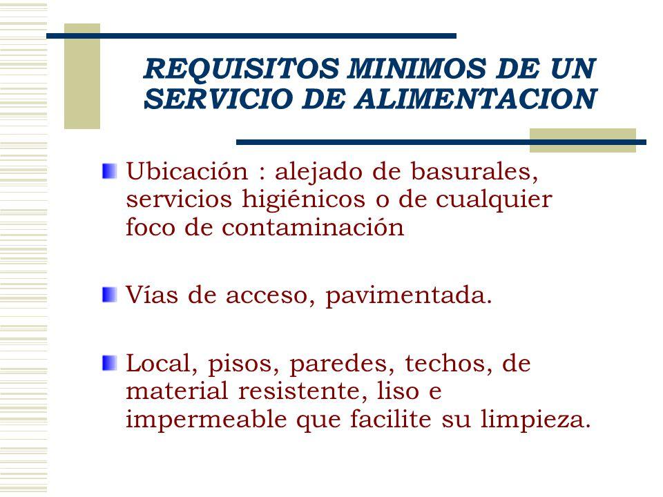 REQUISITOS MINIMOS DE UN SERVICIO DE ALIMENTACION Ubicación : alejado de basurales, servicios higiénicos o de cualquier foco de contaminación Vías de acceso, pavimentada.