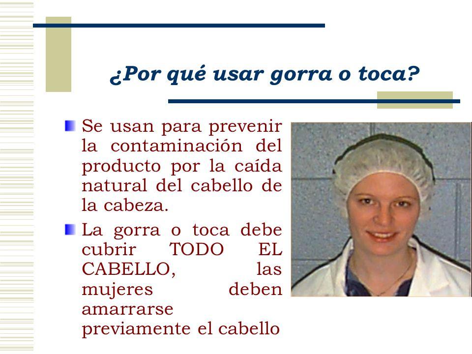 Se usan para prevenir la contaminación del producto por la caída natural del cabello de la cabeza.