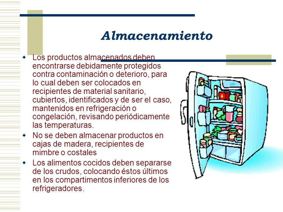 Almacenamiento Los productos almacenados deben encontrarse debidamente protegidos contra contaminación o deterioro, para lo cual deben ser colocados e