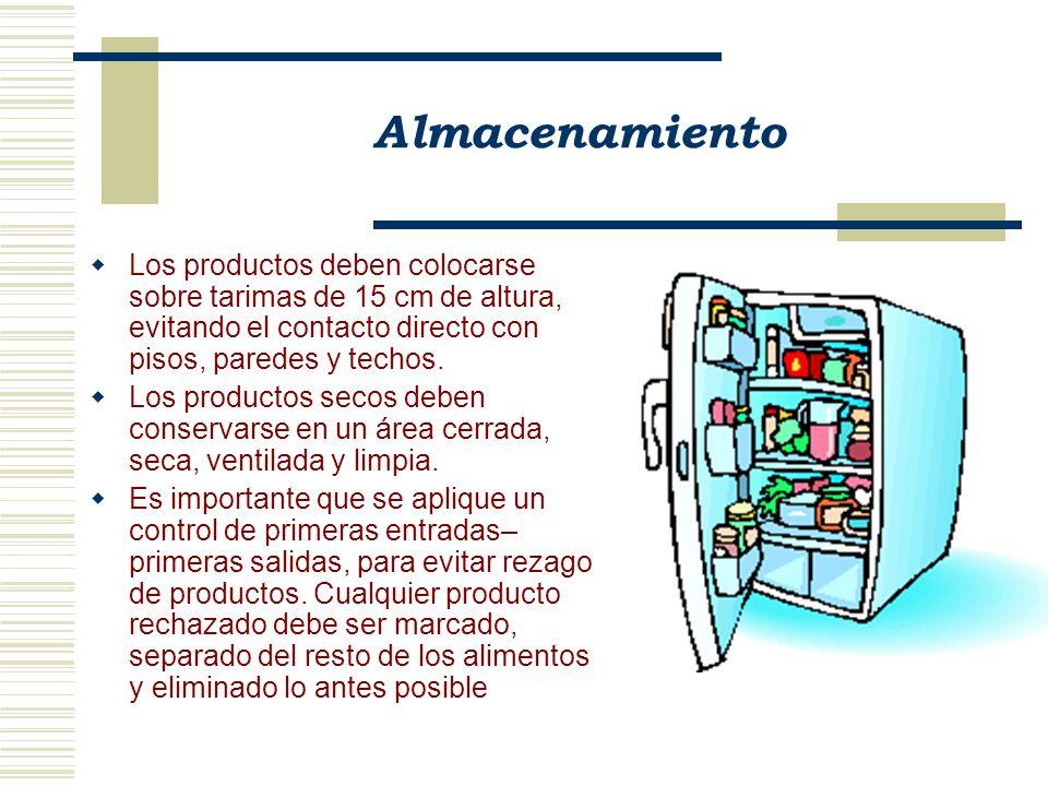 Almacenamiento Los detergentes, desinfectantes y los productos para control de plagas deben almacenarse en lugares específicos, separados de las áreas de manipulación y almacenamiento de alimentos.
