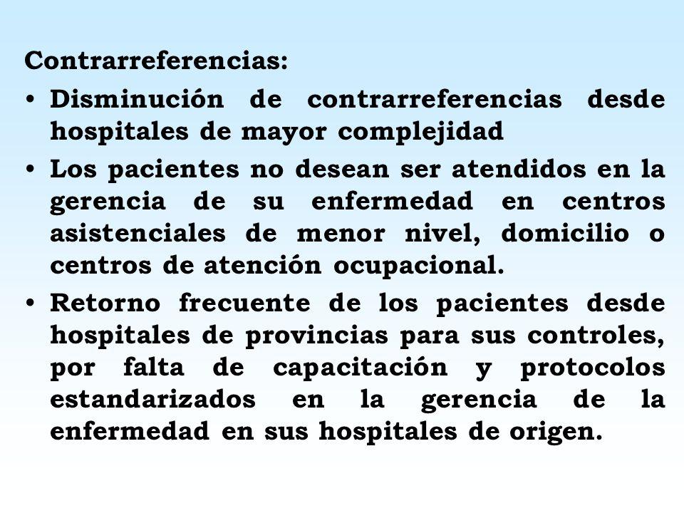 Resultados Incremento en la carga de referencias hacia hospitales o institutos de mayor complejidad, por falta de contención en hospitales menor nivel