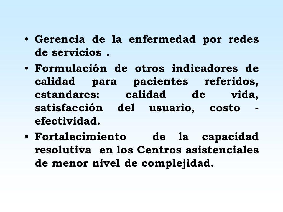 PROYECCIONES EN EL SISTEMA DE REFERENCIA Y CONTRARREFERENCIA Nueva estructura orgánica: formación de redes a nivel nacional desde nov del 2003. Nuevo