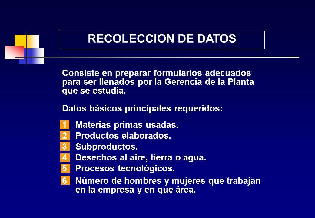 ESTUDIO DEL AMBIENTE DE TRABAJO Los principales pasos son: 1Recolección de datos. 2Examen preliminar. 3Plan de muestreo: Lugar de toma de muestras Tip