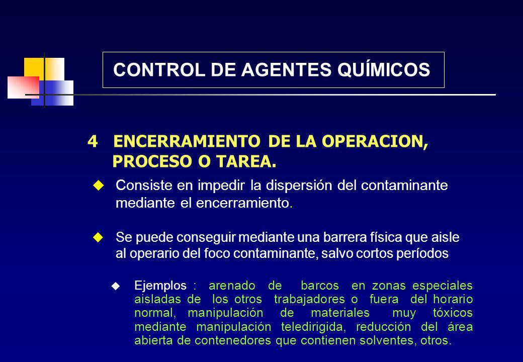 3 MODIFICACION DEL PROCESO CONTROL DE AGENTES QUÍMICOS Hay trabajos en los cuales se puede modificar, el proceso sin cambiar el resultado de la operac