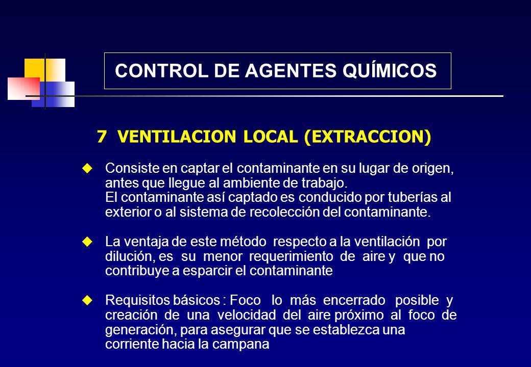 CONTROL DE AGENTES QUÍMICOS 6 DILUCION (VENTILACION GENERAL) Consiste en rebajar la concentración de los contaminantes hasta niveles aceptables, media