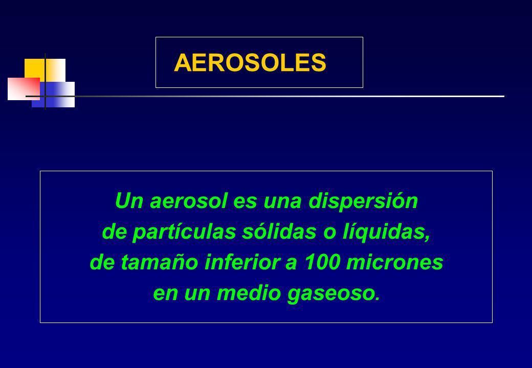 AEROSOLES Un aerosol es una dispersión de partículas sólidas o líquidas, de tamaño inferior a 100 micrones en un medio gaseoso.