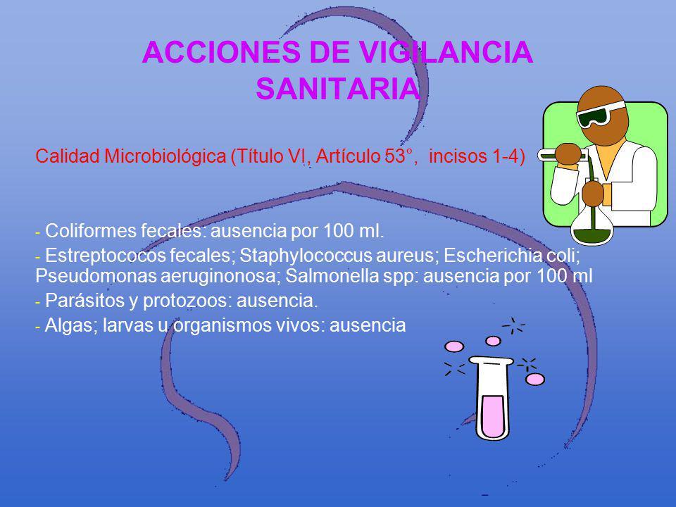 ACCIONES DE VIGILANCIA SANITARIA Calidad Microbiológica (Título VI, Artículo 53°, incisos 1-4) -- -- Coliformes fecales: ausencia por 100 ml. -- -- Es